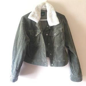 EUC olive green corduroy cropped jacket
